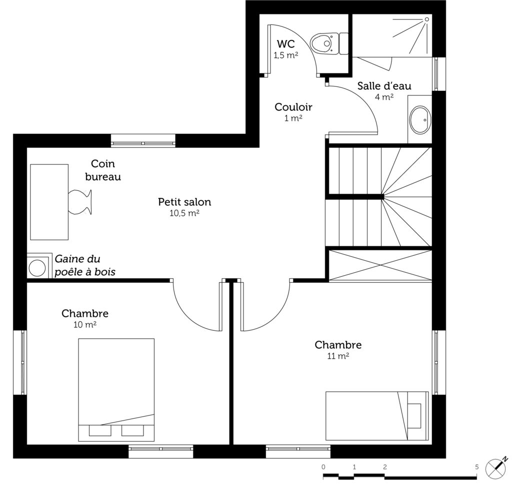 Plan maison etage 4 chambres 1 bureau awesome plan tage for Plan maison cube etage
