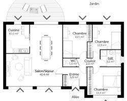plan maison individuelle traditionnelle 100m2