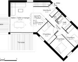 Plan maison en V de 100 m