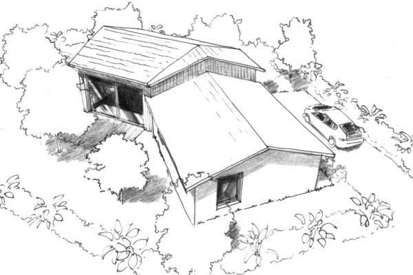 dessin maison 110 m en v