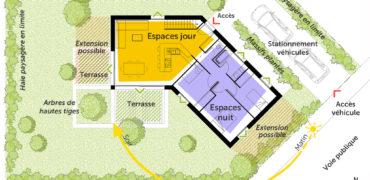 plan de masse maison en v