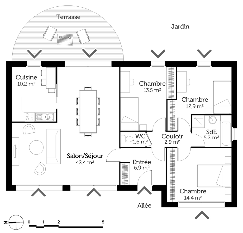 D couvrez 5 plans de maisons de 100m et les plans de masse for Plan maison sud est